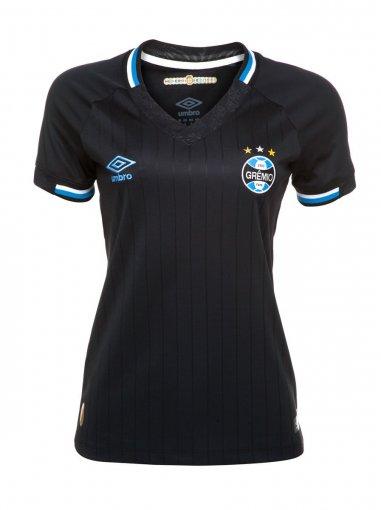 Camiseta Grêmio Feminina Umbro OF.3 2018 Preto/Branco/Azul