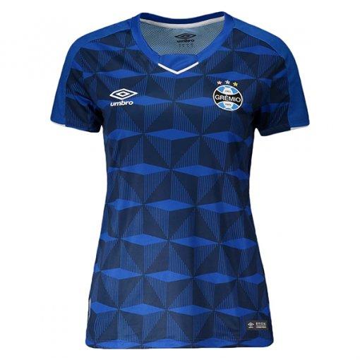 Camiseta Grêmio Feminina Umbro OF.3 2019 3G160991 Azul Marinho/Branco