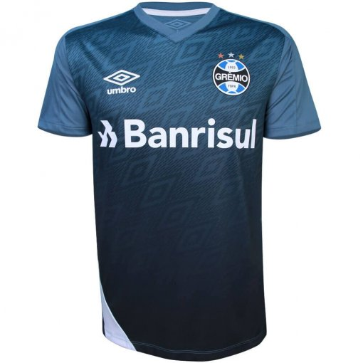 Camiseta Grêmio Masculina Treino 2020 Umbro 3G161042 Azul/Branco/Preto