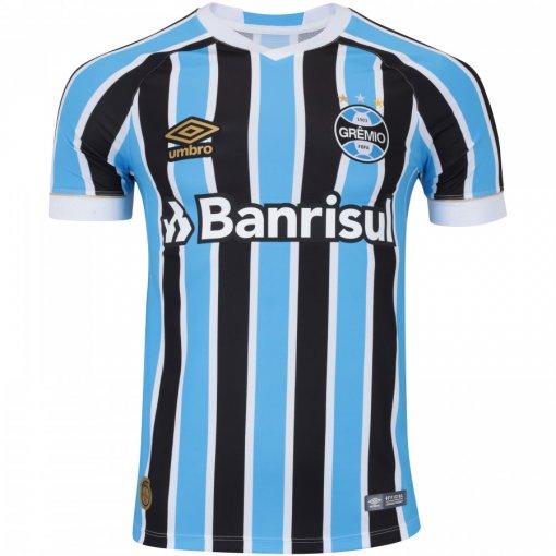 Camiseta Grêmio Masculina Umbro OF.1 2018 Fan Tricolor