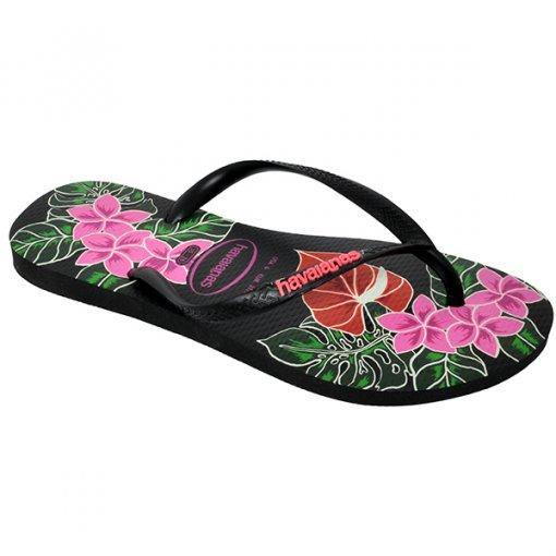 Chinelo Havaianas Slim Floral Preto