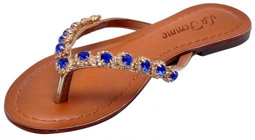 Chinelo Feminino La Femme 14440 Ouro/Azul