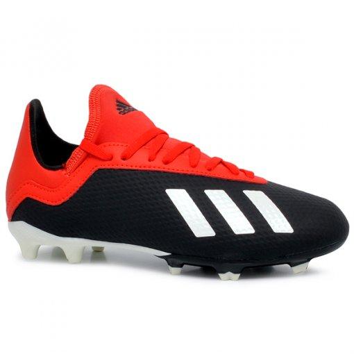 Chuteira Campo Masculina Adidas X 18.3 BB9370 Preto/Branco/Vermelho