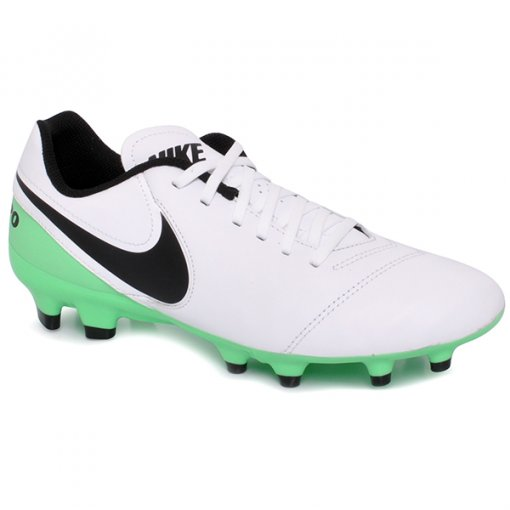 Chuteira Campo Nike Tiempo Genio 2lea Branco/Preto/Verde