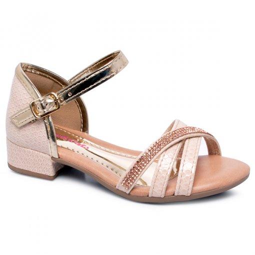 Sandália Infantil Pink Cats V0672 Praia/Ouro