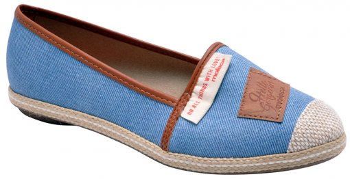Sapatilha Feminina Moleca 5249619 Jeans/Bege/Caramelo