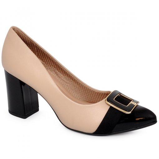 Sapato Bico Fino Piccadilly 746002 Marfim/Preto
