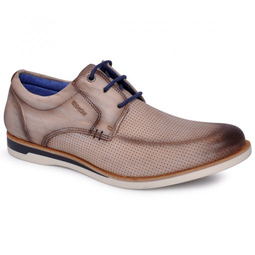 Sapato Masculino Ferracini 3811 Gelo/Azul Marinho