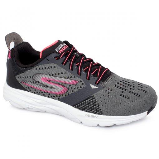 Tênis Feminino Skechers Go Run Ride 6 Gtw-14117 Grafite/Rosa