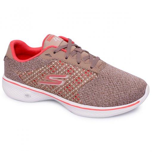 Tênis Feminino Skechers Go Walk 4 Gow-14146 Taupe/Coral
