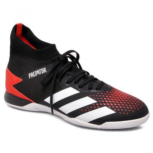 Tênis Futsal Adidas Predator 20.3 In EF2209 Preto/Branco/Vermelho