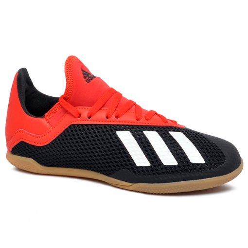 44d349a0116 Tênis Indoor Infantil Adidas X 18.3 BB9395 Preto Branco Vermelho
