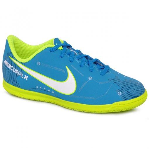Tênis Indoor Infantil Masculino Nike Jr Merculialx Vrtx Iii 921495-400 Azul/Branco/Verde Limão