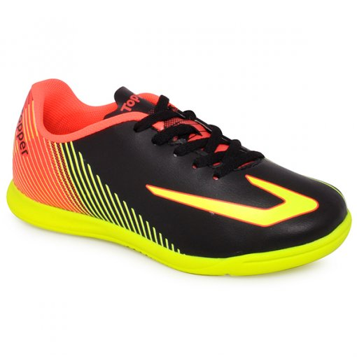 Tênis Indoor Infantil Topper Ultra 420044 Preto/Amarelo Neon