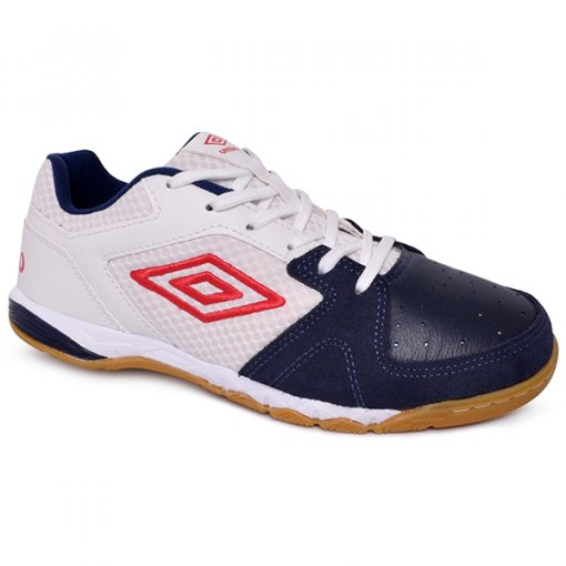 fde4f20f4cc16 Tênis Indoor Masculino Umbro Pro 3 Branco Azul Marinho Vermelho