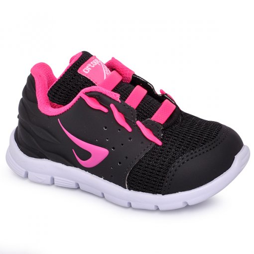 Tênis Infantil Feminino Ortopé 2178032 Preto/Rosa Pink