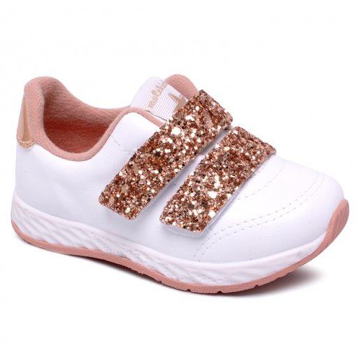 Tênis Infantil Molekinha 2701100 Glitter Branco/Ouro/Rosado
