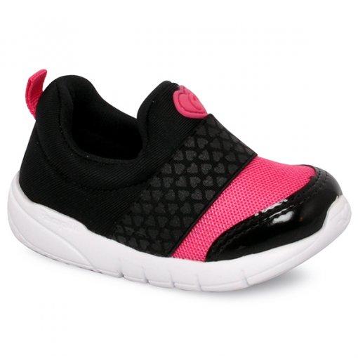 Tênis Infantil Pampili 445001 Preto/Rosa Pink