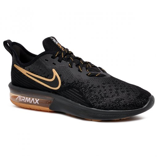 ea337a2166b Tênis Nike Air Max Sequent 4 AO4485-005 Preto Dourado