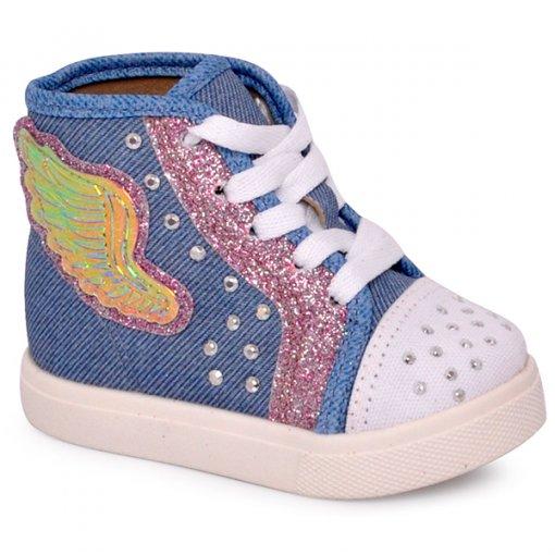 Tênis/Bota Infantil Molekinha 2118115 Jeans/Branco/Rosa