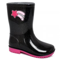 Imagem - Bota Infantil Galocha World Colors 033.019g.1754 Preto/Rosa - 017054500801503