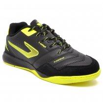 Imagem - Chuteira Futsal Topper Dominator TD III Couro Preto/Amarelo Neon
