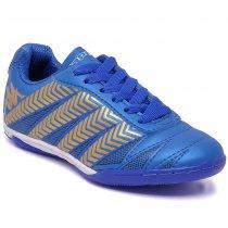 Imagem - Tênis Futsal Infantil Kappa Brayan 35111YW Azul/Ouro