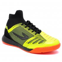 Imagem - Tênis Futsal Knit Topper Domina Pro II Amarelo Neon/Preto/Laranja