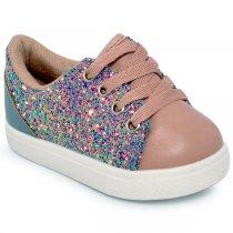 Tênis Infantil Molekinha 2118104 Multicolor/Rosa/Jeans
