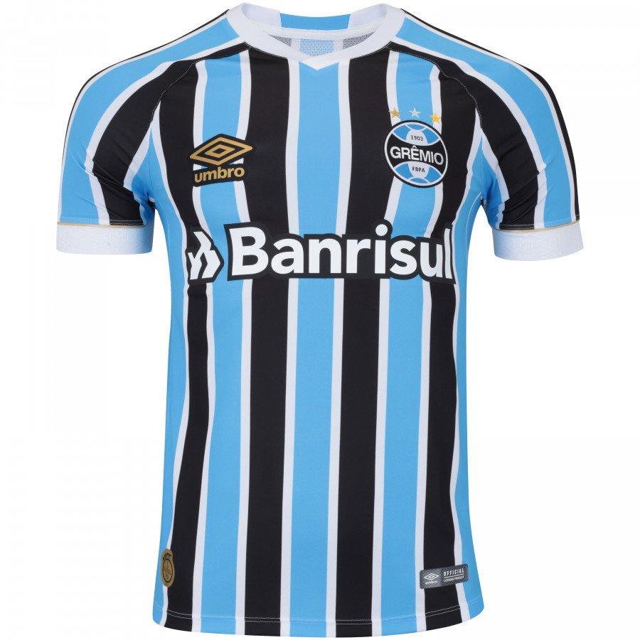 624c220118 Camiseta Grêmio Masculina Umbro OF.1 2018 Fan Tricolor