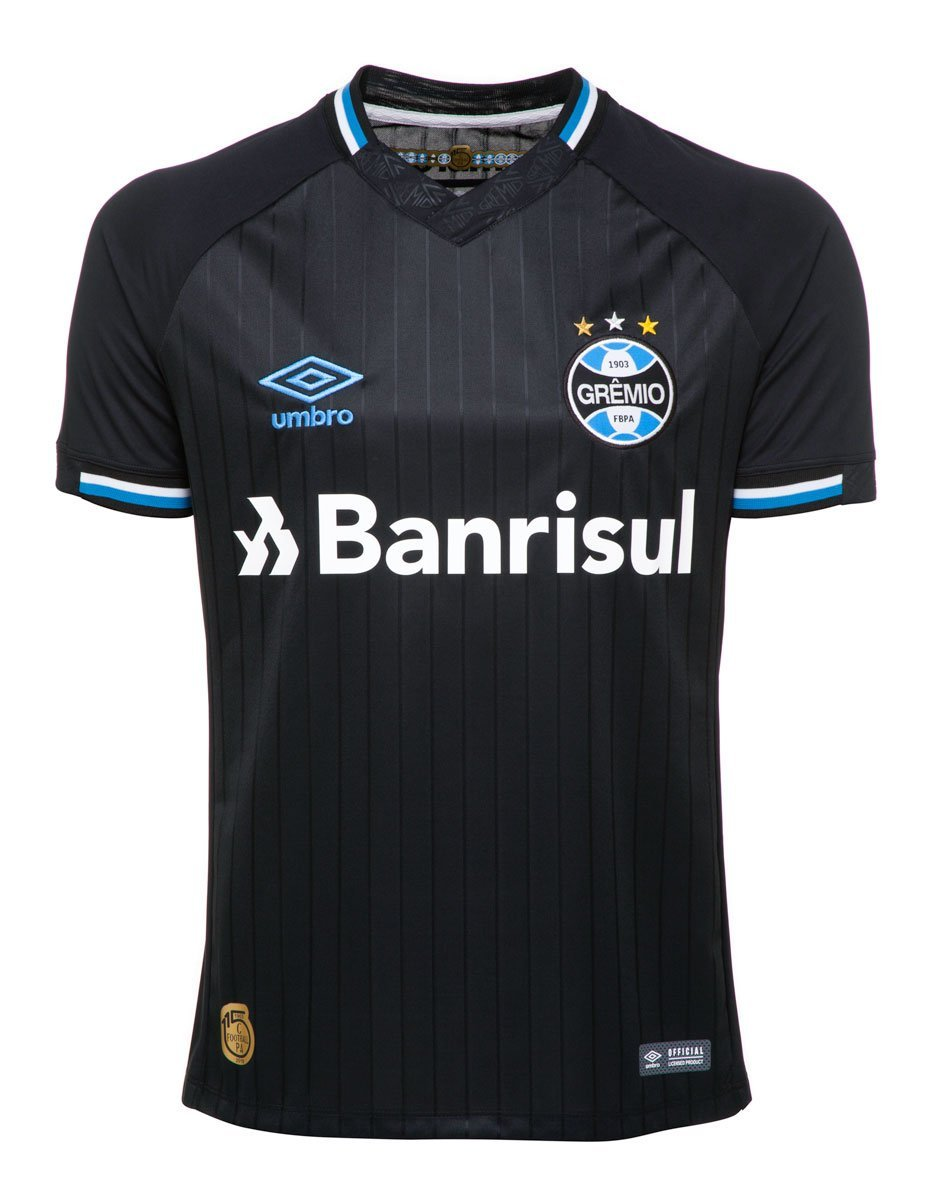 Camiseta Grêmio Masculina Umbro OF.3 2018 Preto Branco Azul 877dfd32c7d7c