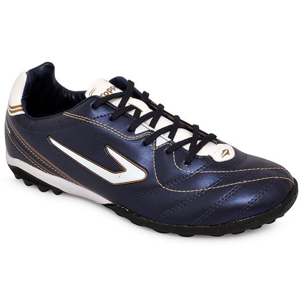 6c1e7a9259 Chuteira Society Topper Titanium 6 420040 Azul Marinho Branco Dourado