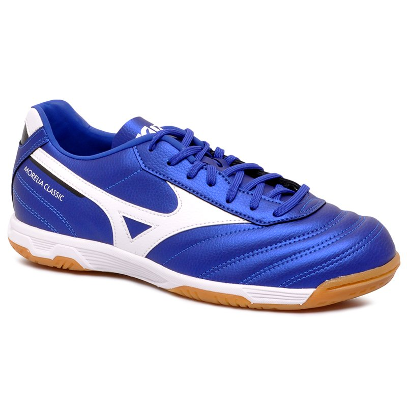 466cf9742cc33 Tênis Futsal Mizuno Morelia Classic 4140679-1639 Azul/Branco/Preto