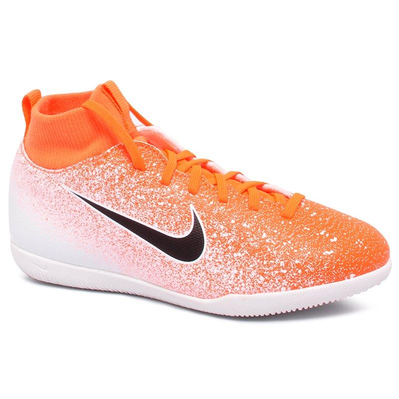 a029a2b0ca Tênis Futsal Infantil Nike Superfly 6 Club AH7346-801 Laranja Branco