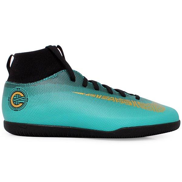 8848589010500 Tênis Indoor Infantil Nike Superflyx6 Club CR7 AJ3087-390 Verde Preto
