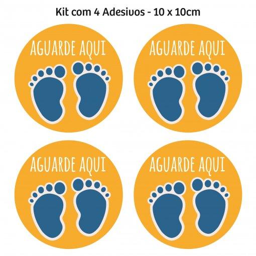 Adesivo mantenha distância para piso - (Kit com 4) 10 x 10 cm - Amarelo