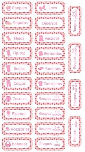 Adesivos para organizar roupinhas de bebê