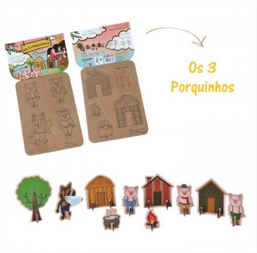 Brinquedo de Papelão - História dos Três Porquinhos