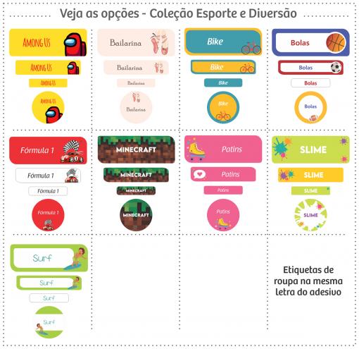 Etiquetas Escolares | Esportes e Diversão | Kit Médio