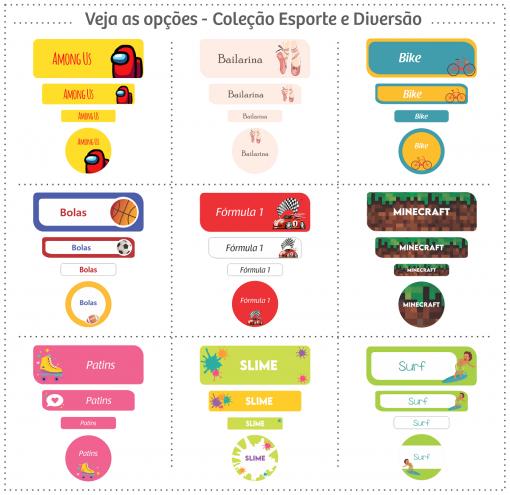 Etiquetas Escolares | Esportes e Diversão | Mix de formatos