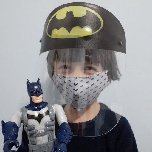 KIT BATMAN (Face Shield Infantil + Máscara de tecido) - 3 a 7 anos