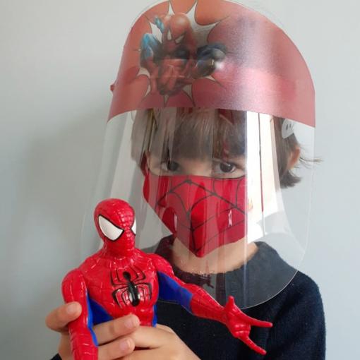 KIT HOMEM ARANHA (Face Shield Infantil + Máscara de tecido) - 3 a 7 anos