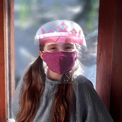 KIT PRINCESA ROSA (Face Shield Infantil + Máscara de tecido) - 3 a 7 anos