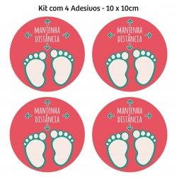 Adesivo mantenha distância para piso - (Kit com 4) 10 x 10 cm - Rosa