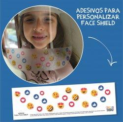 Imagem - Adesivos para Personalizar Face Shield: Emojis cód: 1221