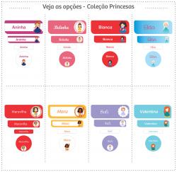 Imagem - Etiquetas Escolares | Princesas | Mix de Formatos cód: PriSel - 5