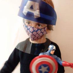 Imagem - KIT CAPITÃO AMÉRICA (Face Shield Infantil + Máscara de tecido) - 3 a 7 anos cód: 1717