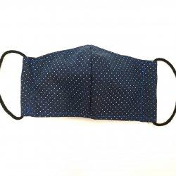 Imagem - Máscara de Tecido Duplo - Infantil - 7 a 12 anos – Azul com poá cód: 1235