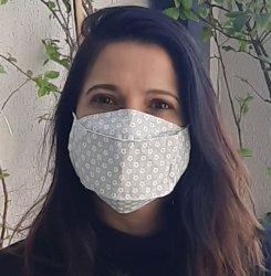 Imagem - Máscaras Tecido Duplo 3D - Adulto - Cinza com florzinha cód: 1724