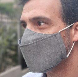 Imagem - Máscara de Tecido Duplo 3D - Adulto - Cinza cód: 1712